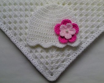 Crochet Baby Blanket and Baby Hat Set Gift Christening Baptism Girl baby beanie pink flower white afghan