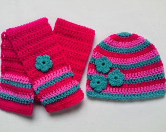 Crochet Baby Toddler Kids Hat and Scarf Set gift crimson pink green flowers