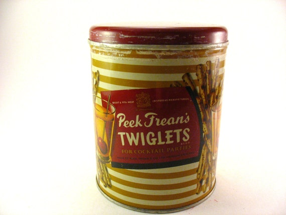 Vintage Tin Peek Frean's Twiglets Made in England Advertising Rare Hard to Find