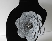 "Huge 5"" WOOL Felt Fall FLOWER Brooch Accented with Rhinestone Center in Gray Grey LOVELY"