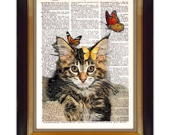 """Dictionary Page Art - DIY Digital Art Print - Cat and Butterflies on a Vintage Dictionary Page - CP-313 - 8.5""""x11"""" - Instant Download"""