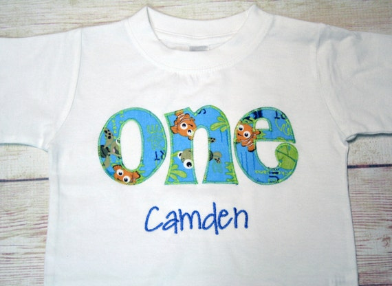 "Finding Nemo Inspired ""ONE"" Birthday Shirt for Boys - Boy Birthday Outfit - Birthday Age Shirt for Boys"