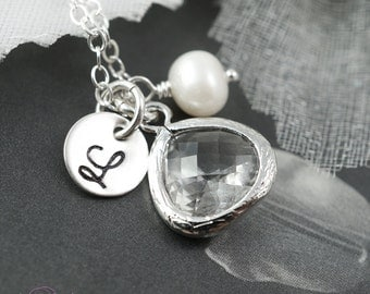 Clear stone initial necklace, disc charm, hand stamped, bezel pendant, silver necklace, bridesmaids gifts, bridal jewelry