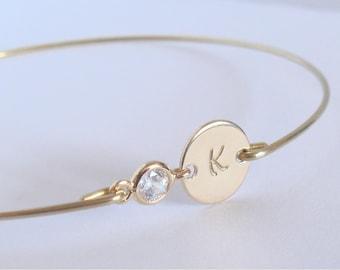Bracelet initiale personnalisé - Bracelet jonc initiale - Bracelet jonc doré