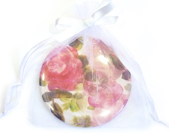 Floral Pocket Mirror in Gift Bag, Unique Pink Hand Painted Rose Design. Wedding Favour. Bridal Gift. Unique Gift. Small Present. Birthday