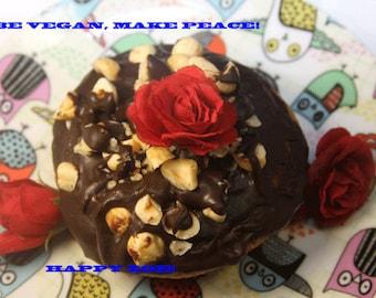 Vegan Gluten free vanilla hazelnut chocolate doughnuts,Natural and Healthy ingredients,Love and Compassion,Birthday,Wedding.