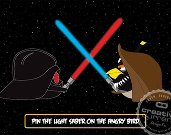 Pin the Light Saber on the Angry Bird - Party Printables, Pin the Tail Game, Angry Birds Star Wars