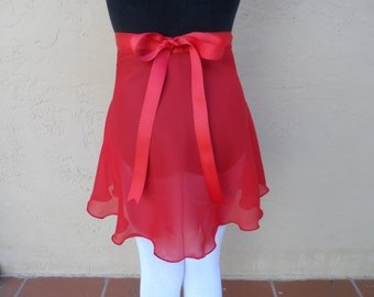 """Child Large/Teen 14"""" Wrap Skirt, Many Colors, Ballet Skirt, Ballet Wrap Skirt, Dance Skirt, Ice Skating Skirt"""
