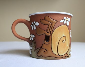 Tea mug with ladybird chasing a snail