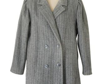 Women Peacoat Women Pea Coat Women Winter Coat Gray Winter Coat Ladies Winter Coat Herringbone Coat Double Breasted Purple Coat Outerwwear