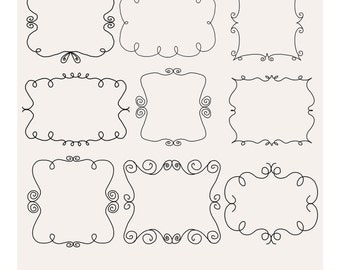 Photoshop Brushes and 18 Doodle frames clip art, border clipart,