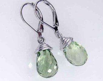 Green amethyst earrings in 925 sterling silver. Green Briolette Amethyst silver earrings. Amethyst drop earrings