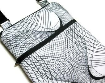 Black white cross body purse sling bag adjustable strap shoulder vacation travel wallet hobo hipster shopping small vortex