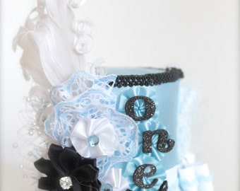 Blue White and Black Alice in ONEderland Inspired Mad Hatter Tea Party -  Mini Top Hat Headband - Perfect  First Birthday Photo Prop