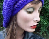 Womens CROCHET Slouch Beanie/Purple -  fashion accessory, Beach Boho Slouch SUMMER SALE  Dark and Light Purple - Hip and Awesome accessory