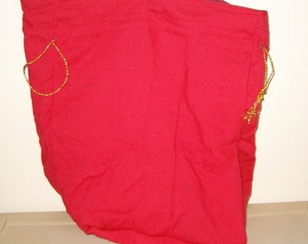 Red Linen Look Reusable Fabric Gift Bag/ Storage Bag