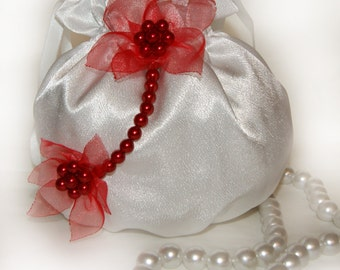 No delivery between 23.08-10.09!!!Elegant bag , money bag,  pursewedding party special occasion, communion made of satin red organza