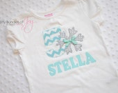 Personalized Frozen Themed Sparkly Sequin Gray, Silver, and Aqua Snowflake Birthday Shirt