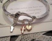 Footprints Silver Charm bangle Heart Foot Cross Charms Silver and Gold
