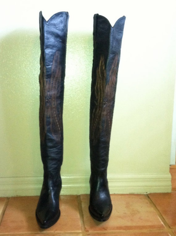 Black Thigh High Cowboy Boots Size 8