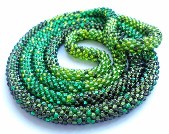 ONE Crocheted Beaded Necklace/Bracelet  -  Green snake