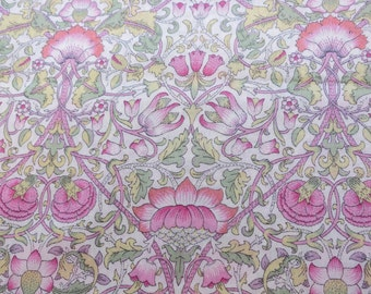 LIBERTY Of LONDON Tana Lawn Cotton Fabric  'Lodden' Pink/Green William Morris Lg Fat Eighth 10 X 26 in