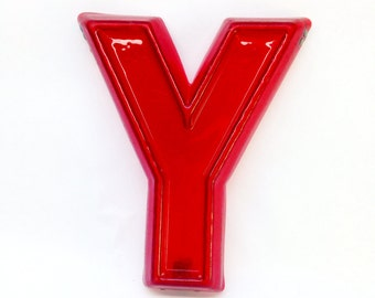 "Red Marquee Letter Y - Vintage Plastic Sign - 8"" tall"