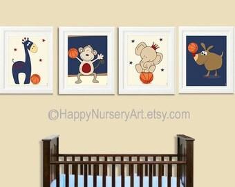 Basketball nursery wall art, Nursery basketball art, baby boy nursery art, Art for nursery, Sports animals, giraffe, elephant, monkey, dog