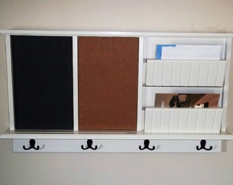 Message Board with mail holder chalkboard and cork board   Wall Shelf with Key hooks , Furniture