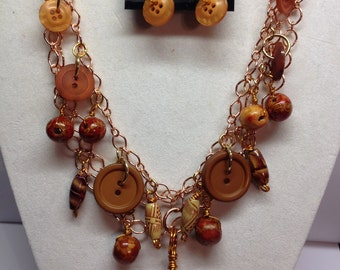 Copper and Brown Button necklace with earrings