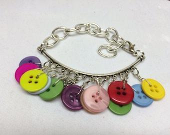 Charm Bar Button Bracelet