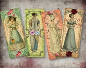 Digital Collage Sheet Download - Jane Austen Bookmarks -  274  - Digital Paper - Instant Download Printables