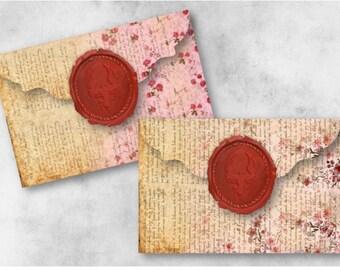 Digital Collage Sheet Download - Wax Seal Pink Floral Envelopes -  937  - Digital Paper - Instant Download Printables