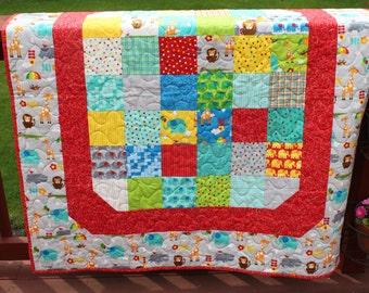 "Baby Quilt - ""Bungle Jungle"" Handmade quilt - Minky Backing"