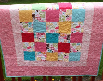 """Baby Girl Quilt- """"Owls and Bunnies"""" Handmade Quilt- Pink, Aqua, Yellow and Green"""