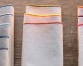 Organic Unbleached Cotton Flannel Handkerchiefs, Choose Your Color Edging, Set of 8 -Standard Size Facial Tissue Alternative