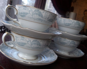 Shabby Chic Teacup and Saucer 4 SETS Embossed Empress Baby Blue Japan Fantasia 1304