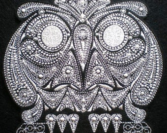 Large Embroidered Fancy Owl Applique Patch, Halloween, Gothic, Iron On Patch
