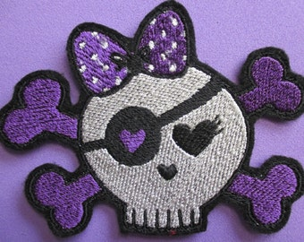 Small Embroidered Girl Pirate Skull and Crossbones, Applique Patch, Iron On or Sew On, Pirate Girl, Girl Skull, Gothic Girl, All Colors