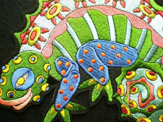 Huge Size Embroidered Chameleon Iron On Patch Applique