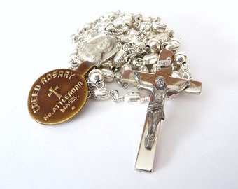 Vintage Creed Sterling Silver Rosary with Tag and Box Holy Catholic Rosary