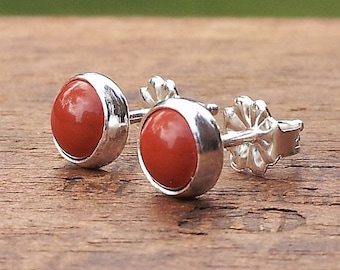 6mm Red Jasper Stud Post Earrings Fine Sterling Silver Shiny - Little Bits of Color