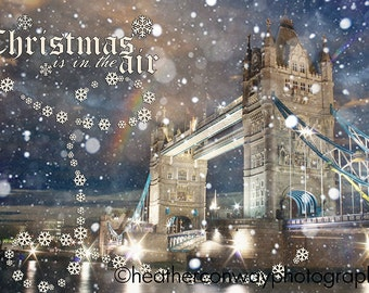 Printable Holiday Card - London, snow scene, Tower Bridge, Christmas is in the air, DIGITAL greeting card - Fine Art Photography