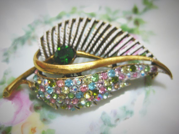 Vintage Coro Signed Multi-Color AB Stone Brooch-Pin