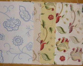 Designer Discontinued Fabric Samples - 6 Various Floral Colors Quilted - 100% Cotton