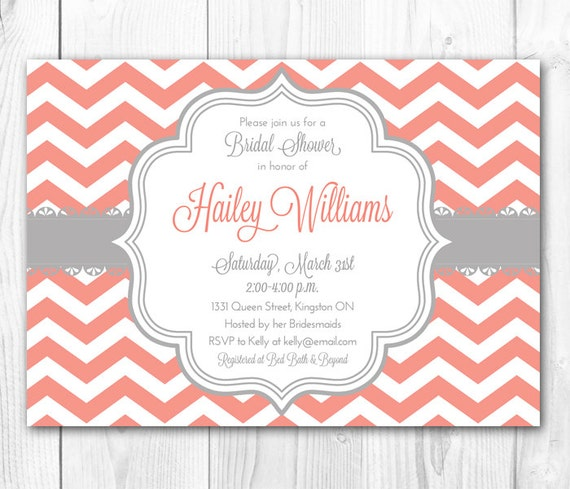 Items Similar To Chevron Bridal Shower Invitation Coral Gray