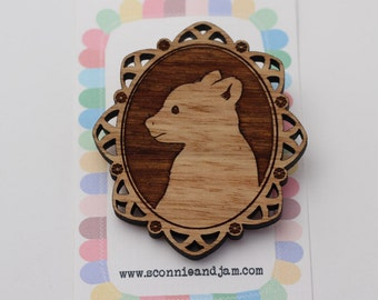 Laser cut wood brooch - Adorable little brown bear cub cameo - natural wooden finish