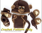 Monkey Hat, Diaper Cover, Booties, Mitts for Newborn and Preemie - crochet pattern