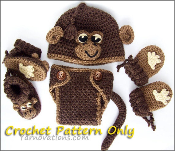 Free Crochet Patterns For Monkey Hats : Monkey Hat Diaper Cover Booties Mitts for Newborn and