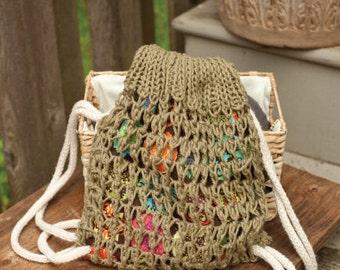 "Knitting PATTERN draw string bag knit and sewn 10"" tall"